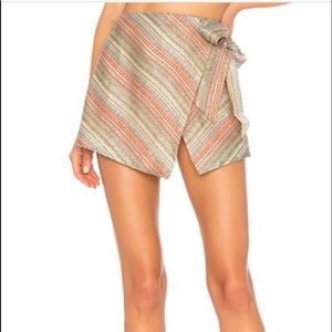 NEW Lovers + Friends Gia Wrap Miniskirt Striped S